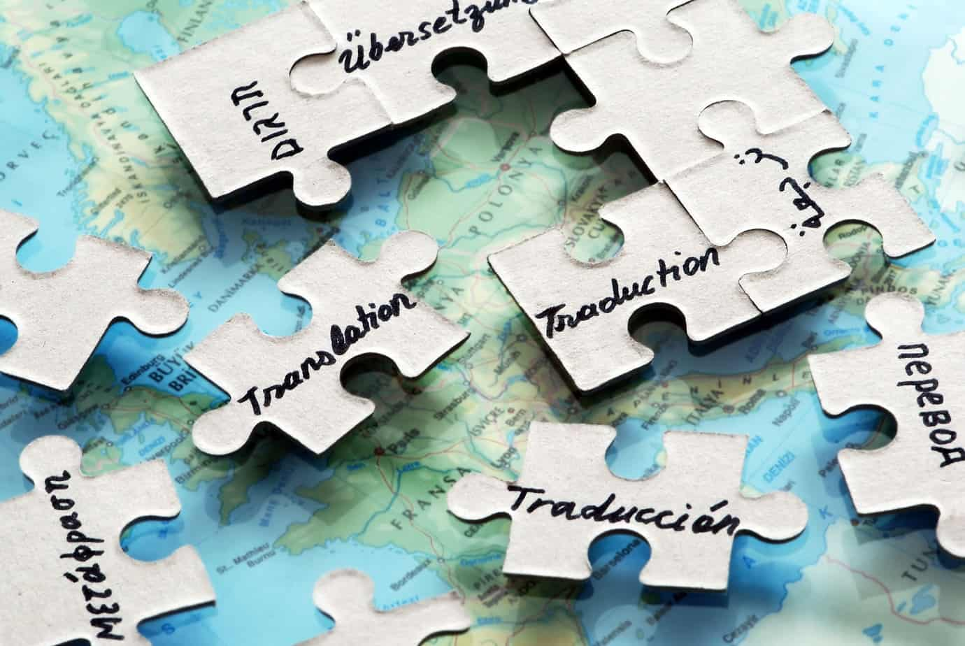 Different Languages from Around the World On Puzzle Pieces