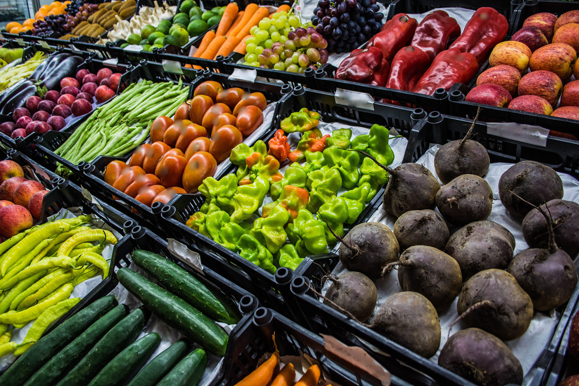 Fruits and Vegetables at a Grocery Store