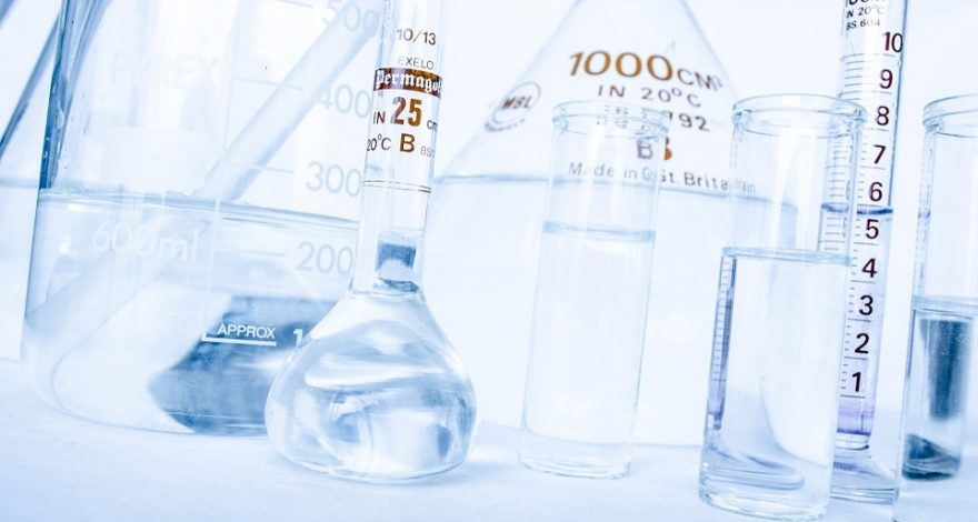 chemical bottles and test tubes
