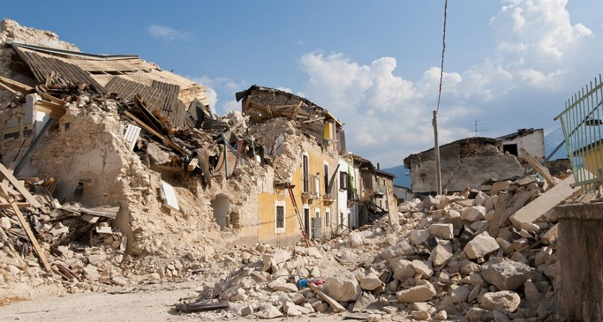 buildings devastated by earthquake