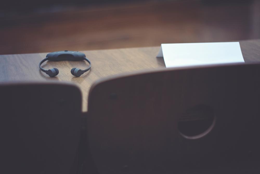 Simlutaneous Interpreter Headphones on a Desk