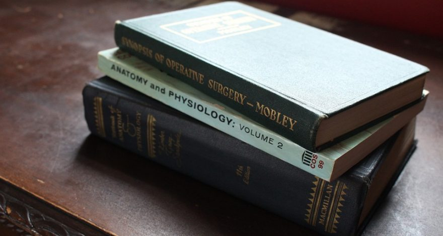 stack of medical books
