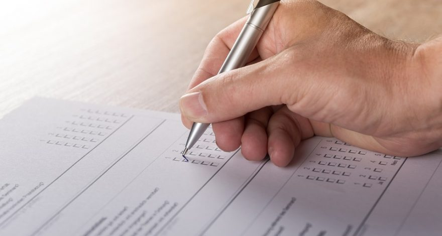subject in clinical trial filling out a PRO