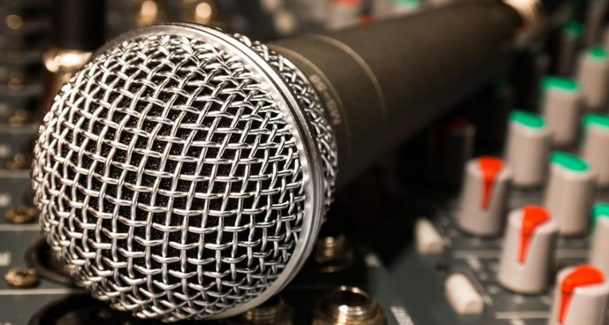 voice over recording microphone and sound board